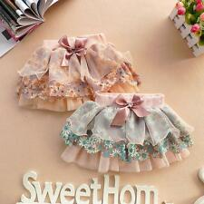 Sweet Girl Ruffle Floral Tutu Dress Kid Princess Lace Bowknot Layered Skirt 2-6Y