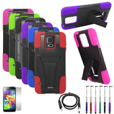 Phone Case For Samsung Galaxy S5 Rugged Cover Stand USB Charger Film Stylus