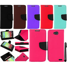 For LG Optimus L90 D405 D415 PU Wallet LEATHER Skin POUCH Case Cover Phone + Pen