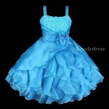 NEW Flower Girl Wedding Pageant Party Bridesmaid Dress Wear Set Blue SZ 4-9 Q182
