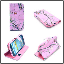 Pink Camo Dry Tree Magnetic Flip PU Leather Card Stand Case For Cele Phones