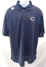 Chicago Bears Football Adult C on Chest Gray Stripes Short Sleeve Polo Navy New