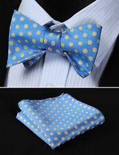 BF2020B Blue Yellow Floral Woven Men Silk Self Bow Tie handkerchief set