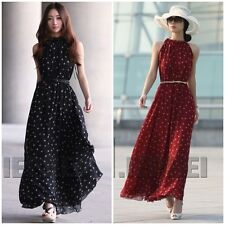 Fashion Womens Polka Dots Maxi Long Casual Summer Beach Party Chiffon Dress 2013