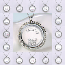 Living Memory Floating Charms Glass Locket Necklace Pendant Chain Charm Include