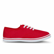 Love Sole Women's Classic Canvas Trainers - Red - DD1 - Size 3 - 8