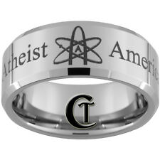 10mm Bevel Tungsten Carbide Lasered American Atheist Ring Available In Size 4-17