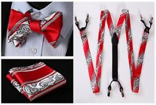 6F06R Red Gray Paisley Stripe Silk Tie Handkerchief Suspenders Self Bow Tie Set