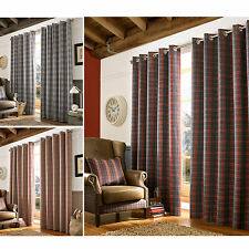 Archie Fully Lined Eyelet Curtains – Ready Made Heavy Tartan Check Curtain Pair