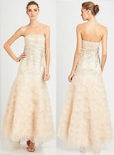 $728 Sue Wong Champagne Scalloped Organza Strapless Beaded Sequin Dress Gown