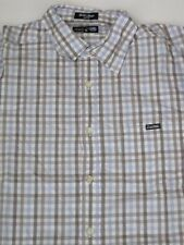 GREY BLUE CHECK ECKO UNLIMITED Shirt NEW World Famous SS SHORT SLEEVE RHINO WHT