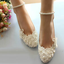 Lace Flower Handmade Ankle Pearl Chain High Heels EVening Women Wedding Shoes