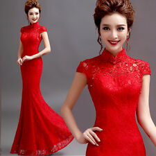 Formal Evening Prom Mermaid Wedding Dress Bridal Gown Ball Gown Cheongsam Y104F