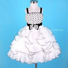NEW Flower Girl Wedding Pageant Party Dress Wears Outfit White/Black SZ 4-9 Q548