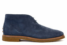 TOD'S MEN'S SUEDE DESERT BOOTS LACE UP ANKLE BOOTS NEW BLUE E6B