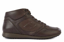 HOGAN MEN'S SHOES LEATHER TRAINERS SNEAKERS NEW H205 BROWN  DC0