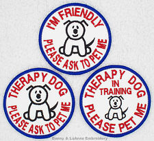 1 THERAPY DOG ROUND PATCH 3 IN Danny & LuAnns Embroidery service in training