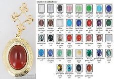 Medium oval locket, gemstone & glass cabochons, metal connector, necklace option
