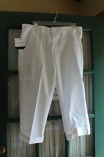 NWT CALVIN KLEIN JEANS CAPRI PANTS ROLL UP CUFFS size 6 White - Perfect Pants!