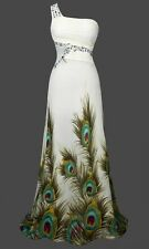 Sexy One Shoulder Peacock Slim Party Bridesmaid Dress S M L XL18 Green