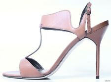 "new $745 MANOLO BLAHNIK ""Crepida"" brown open-toe T-strap shoes  - SEXY"