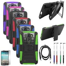 For LG G3 Vigor Case Edge Cover Stand + Holster + USB Charger + LCD +Pen 5in1