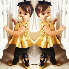 Fashion Baby Girls Kids Shirt Dress + Legging Pants Clothes Sets Suit Outfit E44