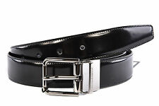 DOLCE&GABBANA MEN'S ADJUSTABLE LENGTH REVERSIBLE LEATHER BELT NEW BLACK  177