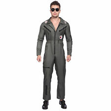 Mens 80's Top Gun Fighter Pilot Costume Aviator Flight Suit 1980s Fancy Dress