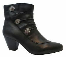 Lotus Forest Women's Formal Black Zip Up Medium Heel Leather Ankle Boots New
