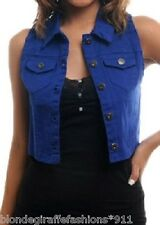 Western Royal Blue Denim Button Front Cropped Vest S M L
