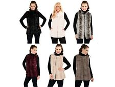 Womens Faux Fur Body Warmer Waistcoat Gilet Sleeveless Jacket Ladies Size 8 - 16