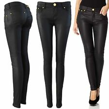 NEW LADIES BLACK PU JEANS LEATHER LOOK SKINNY STRETCH FIT TROUSERS PANTS