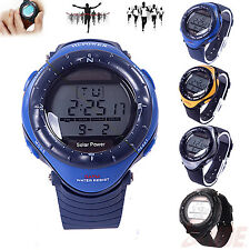 New Men's Solar Powered Digital Chronograph Waterproof Watch Sport Wrist Alarm