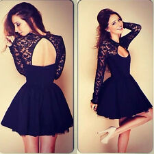 Women's Sexy Floral Lace Long Sleeve Backless Evening Party Bodycon Mini Dress