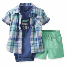 Carters Newborn 3 6 12 24 Months Mighty Cute Shirt Set Baby Boy Clothes Outfit