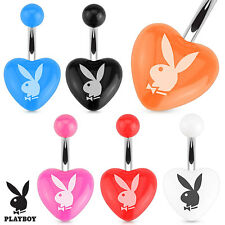 Authentic Playboy Bunny Acrylic Heart Surgical Steel Belly Navel Ring 14G