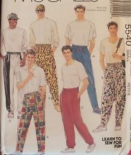 HTF 91 McCALLS 5540 Mens/Teen Boys Novelty Pants & Hat PATTERN XS-S-M-L-XL UC