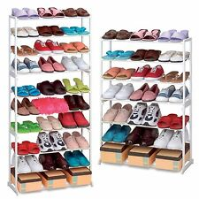 7 or 10 TIER SHOE RACK STORAGE ORGANISER STAND SHELF PAIRS SHOE TRAINERS WHITE
