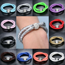 Hot Fashion Wrap Wristband Cuff Punk Magnetic Rhinestone Buckle Bracelet Bangle