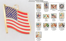 US Flag (American Flag) fobs, various designs & keychain options