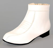 Mens Stormtrooper Cosplay Pimp Disco White Ankle Boot Shoes