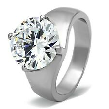 Large New Stainless Steel Round 11 Ct CZ Solitaire Engagement Ring Sizes 5 - 10