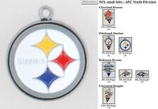 NFL team logo fobs (AFC North), pewter-toned, various teams & keychain options