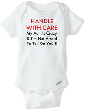 HANDLE WITH CARE CRAZY AUNT  Gerber® Onesie® Baby T-SHIRT BABY SHOWER CUTE FUNNY