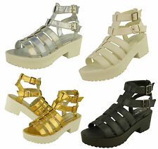 S446 - Ladies Chunky Cut Out Gladiator Platform Shoes Ankle Boots - UK 3 - 8