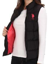 NEW NWT US POLO ASSN WOMEN'S PREMIUM ATHLETIC CLASSIC PUFFER ZIP UP VEST BLACK