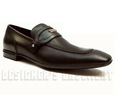 GUCCI mens black leather metal LOGO Plate GG Studs Loafers shoes NIB Authentic!