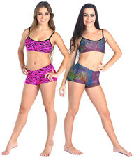 NEW BOOTY SHORTS ONLY Gymnastics Dance Gia-Mia Black Rainbow Print All Sizes