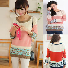Women Christmas Deer Sweater Knitted Pullover Loose Striped Jumper warm top pink